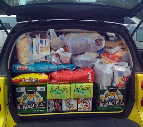 car with groceries